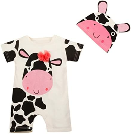 PAOLIAN Monos Ropa para bebé niños Unisex Verano Monos + Gorro Impresion de Vaca lechera Mameluco Peleles para bebés niños niña de 6 Meses 12 Meses 18 Meses 24 Meses: Amazon.es: Ropa y accesorios