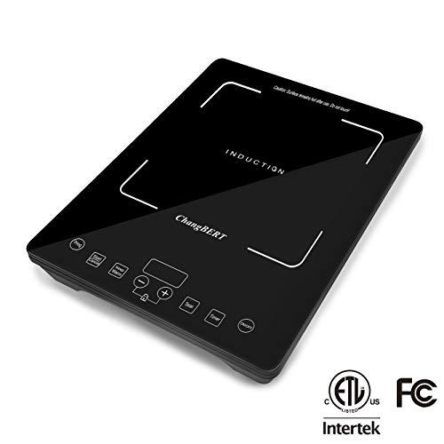 ChangBERT 1800W Portable Sensor Touch Electric Rapid Heating Induction Cooktop Single Stove Countertop Burner, 1800-Watt, Black