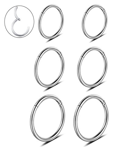 Steel Hoops (16G Stainless Steel 3 Pair Sleeper Earrings Clicker Nose Lip Ring Body Piercing for Mens Womens)