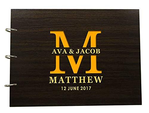 Custom Rustic Wedding Scrapbook Wood Engraved Name Bride & Groom Advice Guestbook