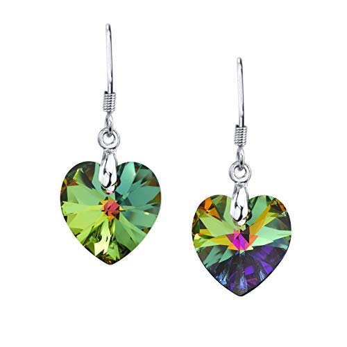 LUVAMI Vitrail Medium Multi Color Crystal Heart Drop Dangle French Hook -