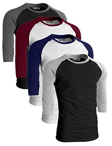 OLLIE ARNES Men's Basic Crewneck 3/4 Sleeve Cotton T-Shirt Raglan Baseball Top WHNAV_WHBUR_BLKCHA_BLKLTG S