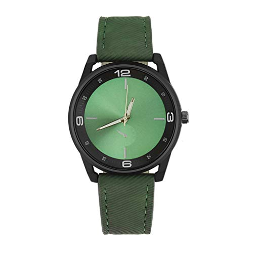 New Men Watch Retro Design Leather Band Dress Watch Landsuy White Dial Analog Alloy Quartz Wrist Watch(Green)