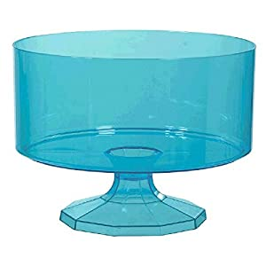 Small Plastic Trifle Container Color Theme Party Reusable Table Snack and Dessert Serveware and Dishware, Caribbean Blue, 40 oz..