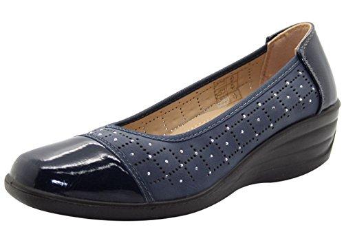 Shoe Tree Comfort Ladies Brogue Eternity Mid Wedge Heel Pump Navy RgYEk