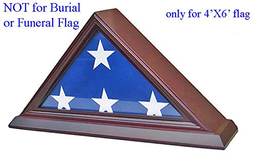 3'X5' Flag Display Case Box Frame (NOT for Memorial or Funeral Flag), SOLID WOOD - Cherry Finish (FC35-CH)