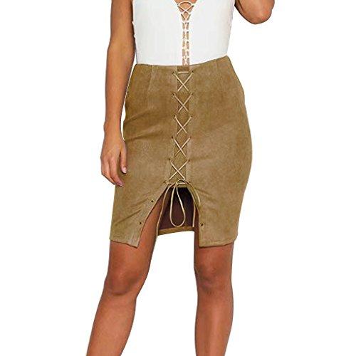 Rela Bota Women's High Waist Criss Cross Lace up Slit Tight Solid Bandage Suede Leather Mini Pencil Skirt Small Khaki ()