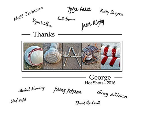 Baseball Coach's Gift with player's signatures - Gift for Baseball Coach - 11x14 with border for signatures -