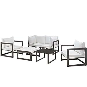 Urbano Moderno contemporáneo 6pcs al aire libre Patio sofá seccional conjunto, marrón blanco tela acero