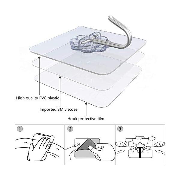 412E7PbJewL 12 Stk. Haken Selbstklebend Handtuchhaken, Max 8kg Klebehaken Transparent Ohne Bohren, Badezimmer Haken für Küche Bad…