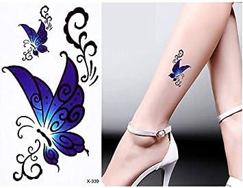 yyyDL Cuerpo coloreado Tatuaje Flor Patrón de Mariposa Diseño ...