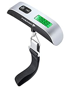 Digital Luggage Scale, Fosmon Digital LCD Display Backlight with Temperature Sensor Hanging Luggage Weight Scale, Up to 110LB (50 kg) with Tare Function