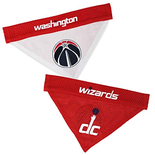 NBA Dog Bandana - Washington Wizards Reversible PET Bandana. 2 Sided Home & Away Sports Bandana with a Premium Embroidery Team Logo, Small/Medium.
