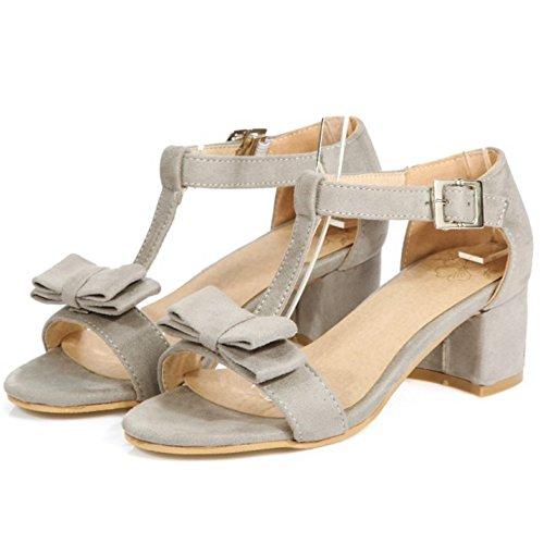 RAZAMAZA Mujer Clasico Correa En T Tacon Ancho Sandalias Chicas Colegio Tacon medio Zapatos with Bowknot Gris