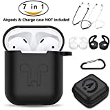AirPods Case 7 in 1 Airpods Accessories Kits Protective Silicone Cover Skin Apple Airpods Charging Case Airpods Ear Hook Airpods Staps/Airpods Clips/Skin/Tips/Grips Black Amasing