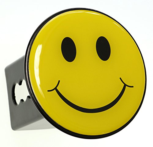 (LFPartS Yellow Smiley Happy Face Trailer Metal Hitch Cover Fits 2