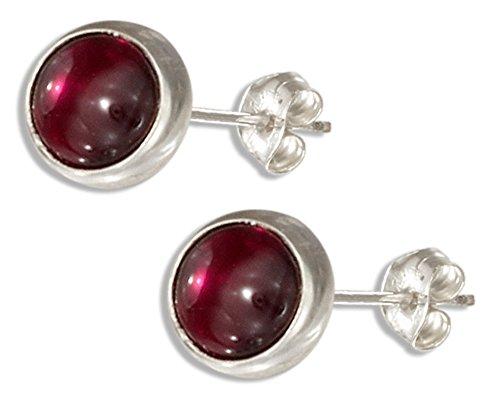 5mm Round Garnet Post Earrings - Sterling Silver 5mm Round Garnet Post Earrings