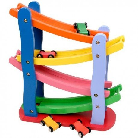 Circuit de 4 voitures Jouet en bois coloré Jouet d'eveil enfants 2 ans + UN JEU DES JOUETS