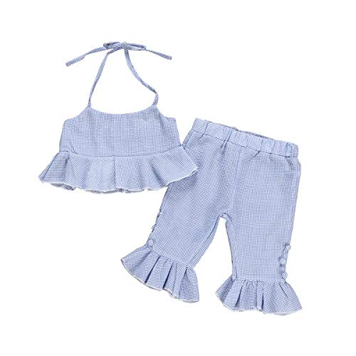 (Newborn Toddler Baby Girl Ruffle Halter Crop Tops Flare Pants Summer Outfit Clothes (Blue, 2-3)