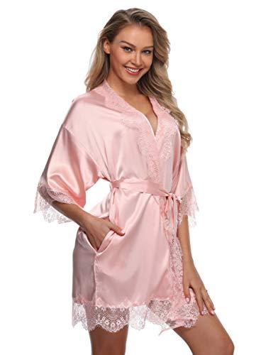 (Sexy Silk Kimono Robe for Women Short Sleepwear Bride and Bridesmaid Bath Robe with Lace Trim Light Pink)