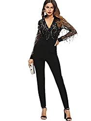Black Mesh Long Sleeve With Silver Sequins & Straight Leg Jumpsuits