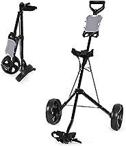 GYMAX 2 Wheel Push Pull Golf Cart, Lightweight Folding Golf Trolley Cart with Scoreboard for Golf Club Court