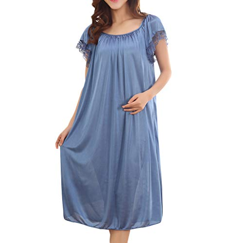 WOCACHI Dress for Womens, Women Summer Home Lace Ice Silk Short Sleeve Loose Plus Oversize Nightgown Dress Mini Maxi Midi Swing Pleated Tank Dress Off Shoulder Floral Solid Skirt Sequin Blue