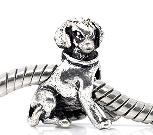 (Labrador Retriever Dog Pet Puppy 3D Animal Charm for Silver European Bracelets)