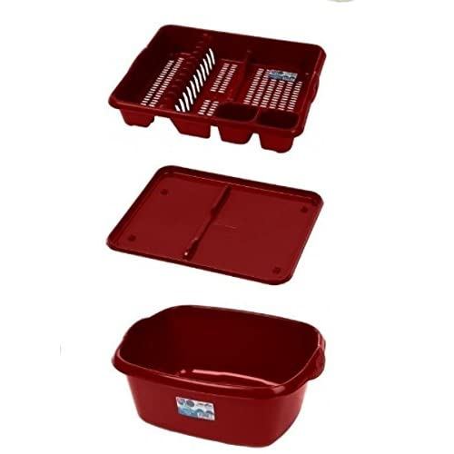 Plastic Large Kitchen Sink Set of 3 Rectangular Washing Up Bowl, Drainer and Tray (Chilli Red)