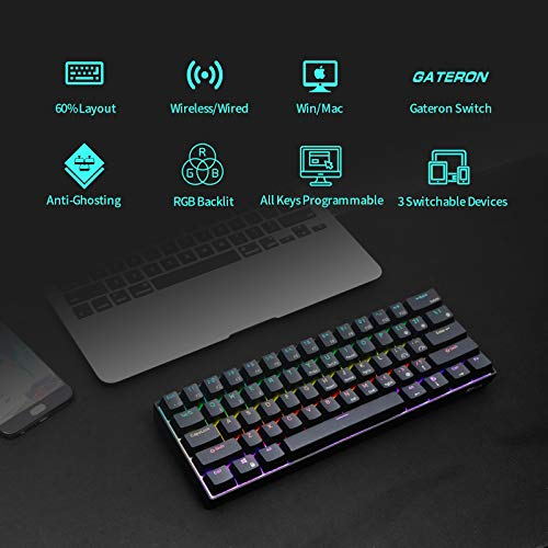 RK ROYAL KLUDGE RK61 RGB Wireless/Wired 60% Compact Mechanical Keyboard,61 Keys Bluetooth Small Portable Gaming Office Keyboard with Rechargeable Battery for Windows and Mac,Gateron Blue Switch,Black