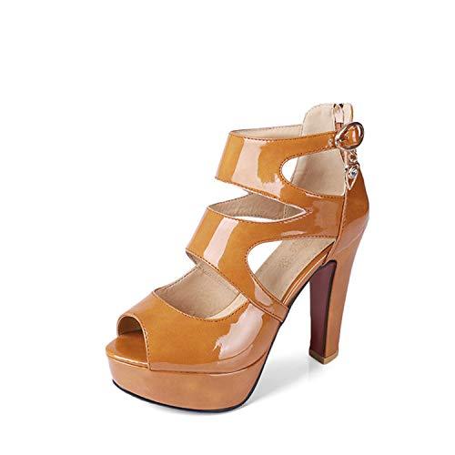 (TRFLH& Sexy peep Toe Black high Heels Platform Women Pumps Hollow Out Gladiator Sandals Women Plus Size 33-50 Summer Zip Shoes Yellow pu 8 )