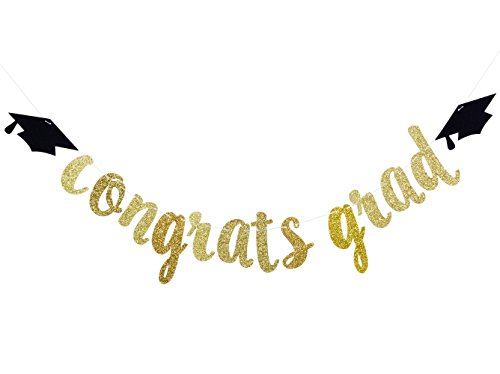 Qttier Congrats Grad Gold Glitter Banner-Graduate Party Decorations]()