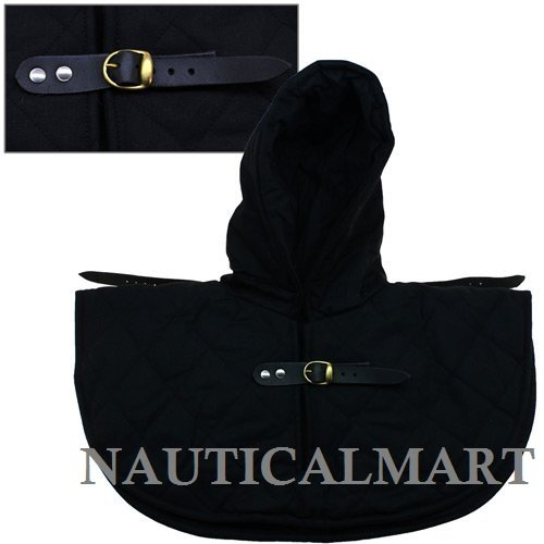 Renaissance Medieval Padded Black Cotton Armor Coif and Buckle Cowl Collar by Nautical Mart - DeluxeAdultCostumes.com