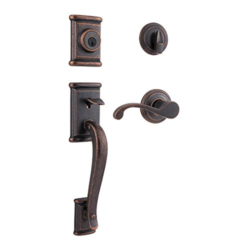 Kwikset Ashfield Single Cylinder Handleset w/Commonwealth Lever featuring SmartKey in Rustic Bronze