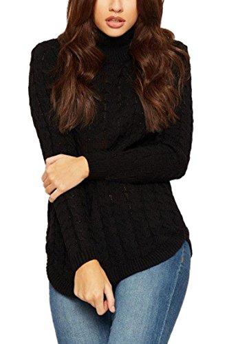 Sweater Knit Viottis Wool Pullover Women's Black Cable Blending Turtleneck RRUBw0