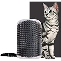 Self Groomer with Catnip Pouch,Cat Self Groomer Wall Corner Massage groomer Cat Self Grooming Brush