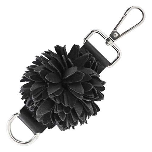 (Genuine Leather Handmade Pom Pom Charms | Key Ring Keychain | for Tassel Bags Purse Backpack (Black - Pom Pom))