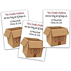 Moving Announcement Cards Cardboard Box Funny New Address