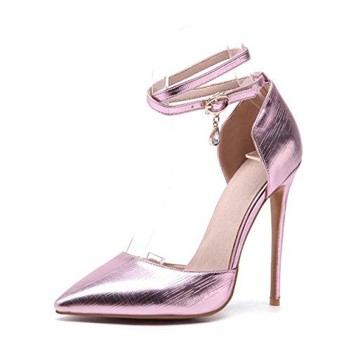 JIEEME Ladies Sexy Stiletto Pointed Toe Pink Gold High Heels Women Sandals Pink 3uYO5IVaIP