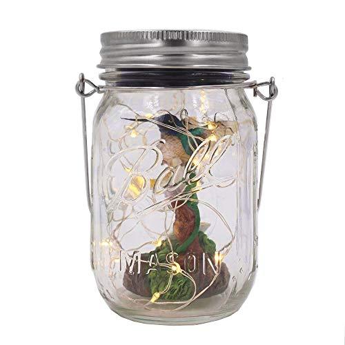 Solar-powered Mason Jar Lights & Hummingbirds with Flowers (Mason Jar & Handle Included),20 Bulbs Warn White Jar Hanging Light,Outdoor Resin Garden Figurines Inside Decor Lanterns,Patio Path Light