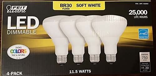 (Feit LED Dimmable BR30 Flood Soft White Bulbs 65 Watts, Uses 11.5 Watts, 4 Pack)