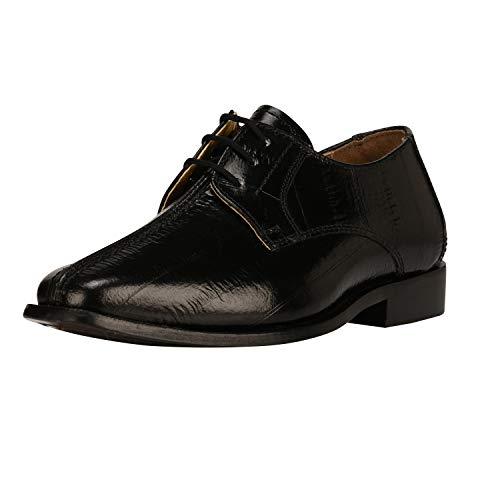 (Liberty Boys Lace Up Walking Dress Shoes EEL Skin Print Kids Genuine Leather Gliders (Toddler/Little Kid/Big Kid) Black)