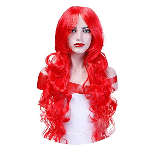 Orange Long Wavy Cosplay Wigs 10 Colors Heat Resistant Synthetic Hair Costume Halloween Party Wig,Red,28inches