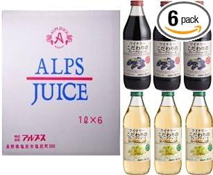 アルプス ワイナリー 果汁100% こだわりのグレープジュース 飲み比べ 紅白ジュースセット 1000ml×6本