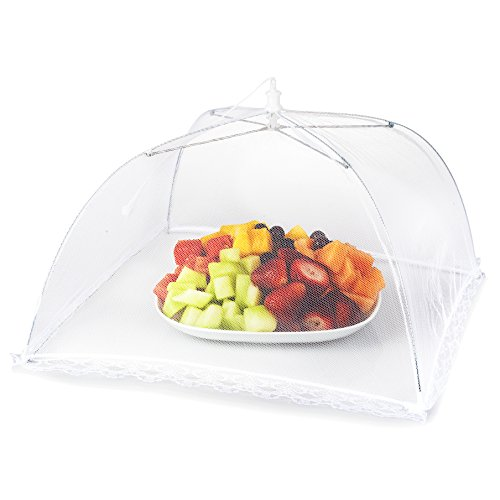 Food Shield - Mesh Picnic Food Tent Covers: 6 Collapsible Umbrella Tents for Picnics, BBQ, Camping & Outdoor Cooking; Reusable Pop Up Dome Screen Net & Plate Protector; Shields Food Plates & Glasses From Flies, Bug