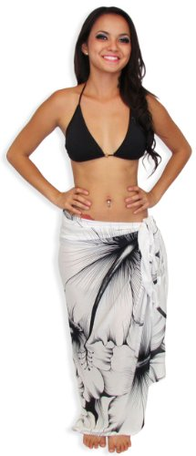 White Sarong Swimsuit Cover-up Large Black Hibiscus Flower with FREE Sarong Tie Accessory