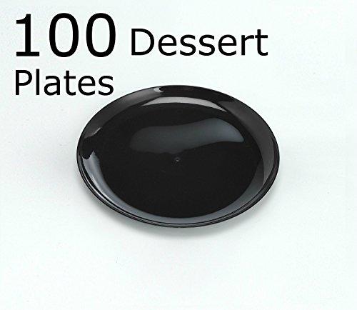Zappy 100 Black Plates Disposable Plastic Dessert Plates Premium Quality Plastic Plates, 6