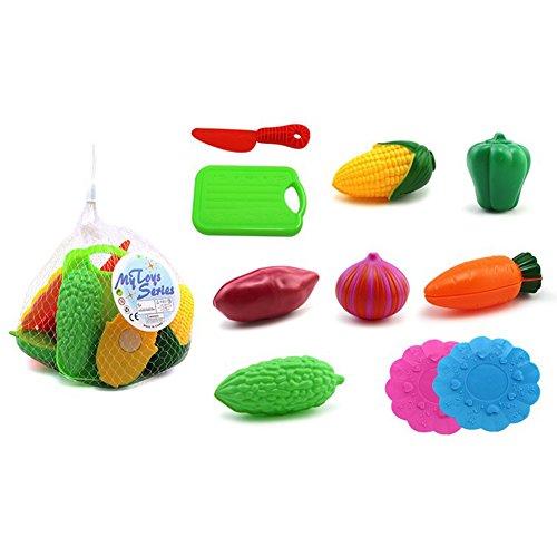 Ocamo Juguete Conjunto de Frutas y Verduras de Corte de plástico para Juego de Imaginación,10 PCs