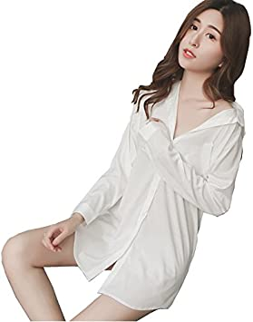 TAOTINGYAN Sleep Dress,Camisón,Pijamas para Mujer Manga Larga Camisa Blanca Suelta Pijama Largo Camisón Visten Camisa Home Furnishing Girls,M,Blanco: Amazon.es: Deportes y aire libre