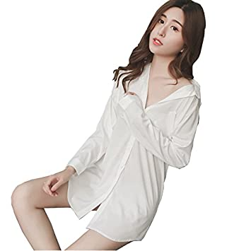 TAOTINGYAN Sleep Dress,Camisón,Pijamas Para Mujer Manga Larga Camisa Blanca Suelta Pijama Largo
